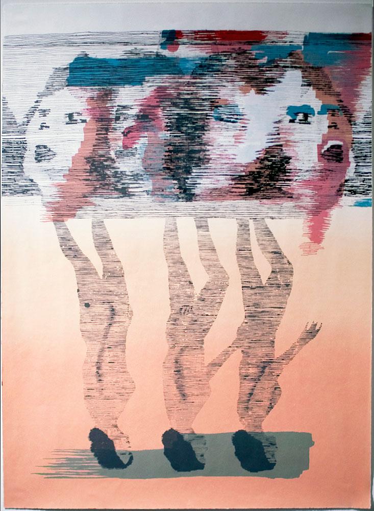 """""""Untitled (Walking Women)"""" - 28'' X 35'' - silk screen on paper"""